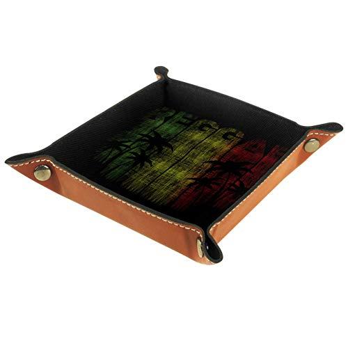 Eslifey Reggae Music Just Relax Organizer Tablett Aufbewahrungsbox Nachttisch Caddy Desktop Tablett Münzfach, 20,5 x 20,5 cm, Mikrofaser-Leder, multi, 20.5x20.5cm