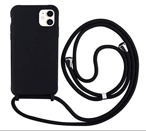 MEVIS Liquid Silikon Handykette Hülle für iPhone 11,Verstellbarer Halskette Silikon Handyhülle-schwarz