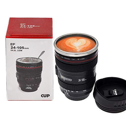 OurLeeme Kameraobjektiv Kaffeetasse Edelstahl Thermos Futterdeckel Kaffeetasse Tasse 400 ML Becher Tumbler Tee Wasserflasche Tasse Großes Geschenk für Freund