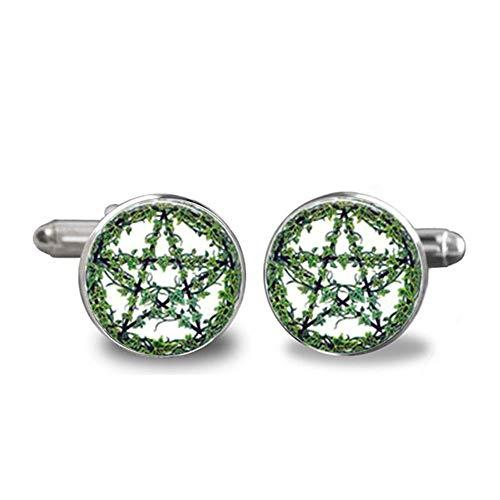 WYLCDGEOO Manschettenknöpfe Glas Cane Green Tree Pentagram Handschellen Charms Manschettenknöpfe Schmuck, A1