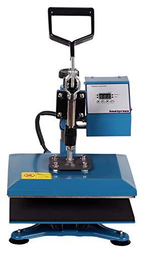 RICOO Transferpresse Textilpresse Power Zwerg-GS Textildruckpresse Schwenkbar Thermopresse Transferdruck Bügelpresse Textil T-Shirtpresse Sublimationspresse Flexfolie und Flockfolie Azur Blau - 4