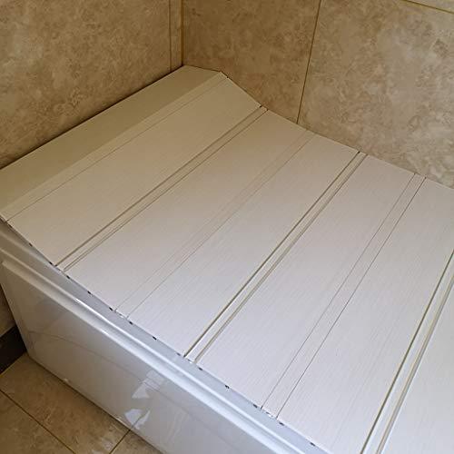 YGG-Bathtub Badewannenabdeckung Staubdichte Platte Faltbare Badewanne Isolierabdeckung PVC Weiß Holzmaserung Halterung Badewanne Badewannenabdeckung Badegestell Badegestell (Größe : 165 * 70 * 0.6cm)