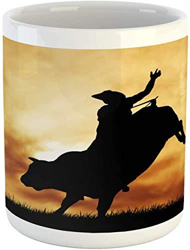 Taza de café con diseño de John Cool Western Bull Rider Silhouette at Sunset Dramatic Sky Rural Countryside Landscape Rodeo de cerámica, 11 onzas, color negro ámbar