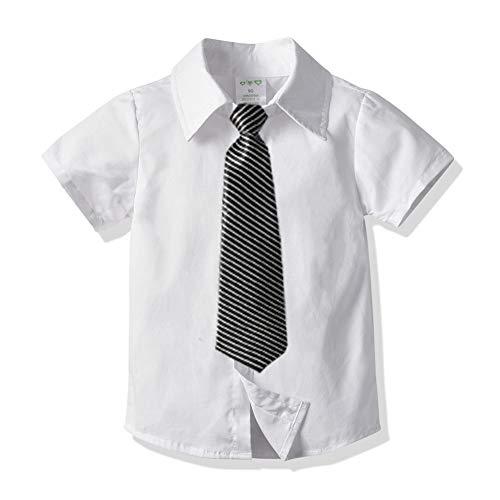 AIWUHE Baby-Jungen Poloshirt mit Krawatte Sommer Hemd Baumwollhemd Kurzarmhemd Weiß College-Stil Top