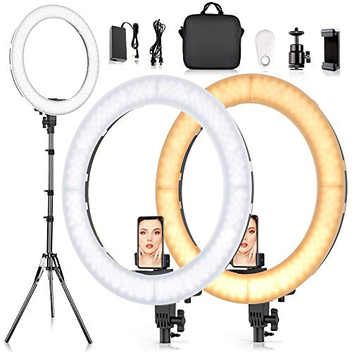 19 Inches Ring Light Kit, SAMTIAN Dimmable LED Selfie Ring Light with 78'' Light Stand Carrying Bag Phone Holder 3200-5900K Photography Camera Video Lighting for TikTok,YouTube,Vlog,Live Streaming