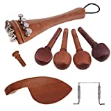 Jiayouy 13Pcs 4/4-3/4 Violin Accessories Kit Violin Tailpiece with Metal Fine Tuner 4 Tuning Pegs Endpin Chin Rest Tail Gut Replacement Parts Jujube Wood