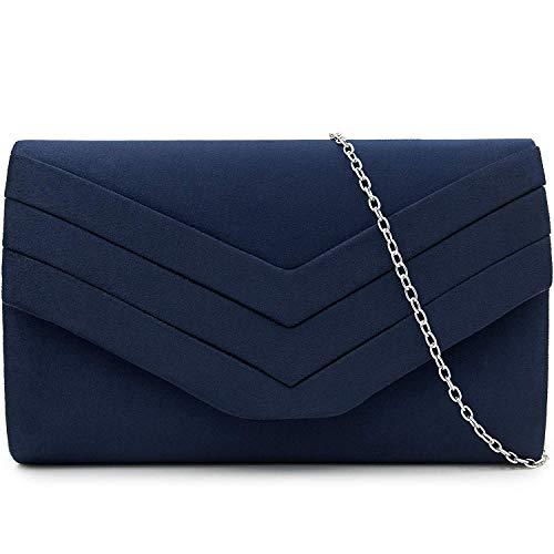Milisente Clutch-Tasche für Damen, Suedu Clutch Taschen für Hochzeit Schulter Crossbody Abendtasche, Blau - navy - Größe: Small