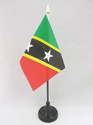 AZ FLAG TISCHFLAGGE ST. Kitts UND Nevis 15x10cm goldene splitze - FÖDERATION Saint Kitts UND Nevis TISCHFAHNE 10 x 15 cm - flaggen