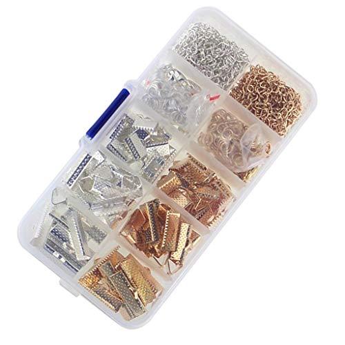 Bonarty Kits de Joyería de Bricolaje con Abrazadera Abrazadera Crimp Ends Broches de Garra de Langosta - Color 1, Individual