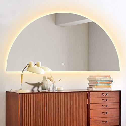 JYING Espejo de Baño LED Iluminado Regulable,Espejo de Maquillaje Retroiluminado de Pared,Botón Memory Touch,Elegante Espejo de Tocador semicircular sin Marco con luz,60x80cm (24x31 Pulgadas)