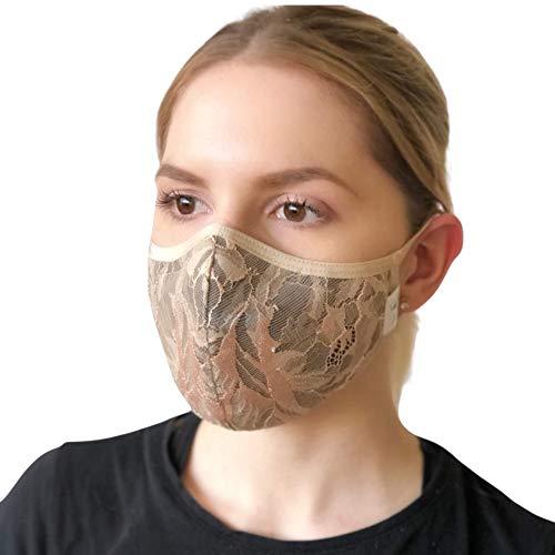 FEELPROTECTED® [2er-Set] Schutzmasken Elegant-Fashion | Öko-Tex-Baumwolle 3-lagig | extra Silberinonen-Beschichtung | wiederverwendbar waschbar ERGO PLUS S/M -beige- [MADE IN EU] (Schwarz-Beige)