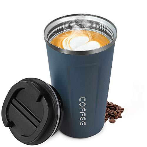 Kaffeebecher, Edelstahl Travel Mug BPA-Fre Coffee To Go Becher Thermobecher Matt hält 6h Heiß/Kalten Edelstahl Doppelwandig Isoliert Kaffee & Tee Isolierbecher Travel Mug