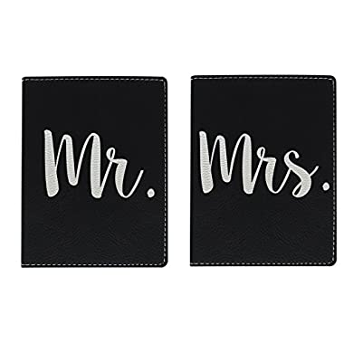 Honeymoon Travel Gifts Mr & Mrs Newlywed Passport Holder Travel Honeymoon Gifts for Bride and Groom Travel Gifts Laser Engraved Leather Passport Holder Black