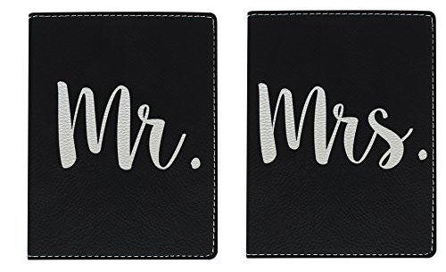 Honeymoon Travel Gifts Mr & Mrs Newlywed Passport Holder Travel Honeymoon Gifts for Bride and Groom Travel Gifts Laser Engraved Leatherette Passport Holder Black