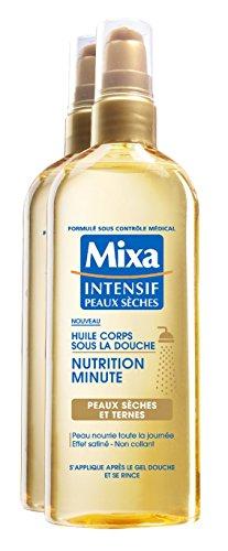 Mixa Intensif Peaux Sèches - Huile Corps Sous la Douche Nutrition Minute pour Peaux Sèches et Ternes - 150 ml - Lot de 2