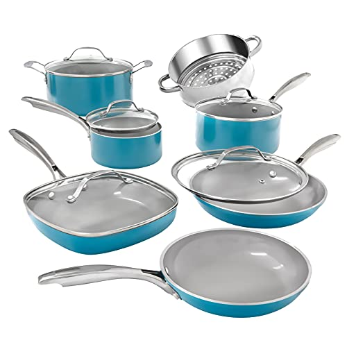 GOTHAM STEEL Pots and Pans 12 Piece Cookware Set with Ultra Nonstick Ceramic Coating by Chef Daniel Green, 100% PFOA Free, Stay Cool Handles, Aluminum, Ocean Blue
