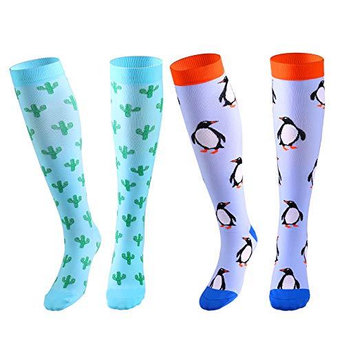 Zingso 2 Pares Calcetines de compresión para Mujeres y Hombres 20-25 mmHg es el Mejor atlético, Correr,Escalar Montaña,Vuelo, Viajes, Enfermeras, Edema (B-Penguin/Cactus-2 Pares, S/M)