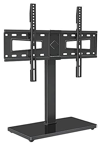 TabloKanvas Universal TELEVISOR Soporte para televisores de Pantalla Plana de 37 a 70 Pulgadas - Altura Ajustable con Soporte de Base de Vidrio Templado (Color : Black)