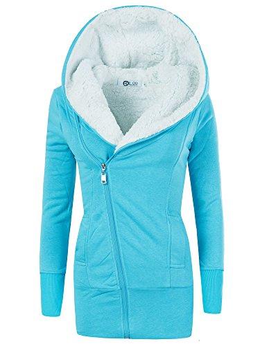 REXOO N596 Damen Jacke Mantel Winterjacke Kapuze Gefüttert Sweatjacke Hoodie, Farben:Türkis, Größen:M