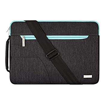 MOSISO Laptop Shoulder Bag Compatible with MacBook Pro 16 inch A2141/Pro Retina A1398 15-15.6 inch Notebook Polyester Briefcase Sleeve with Front Arc Pocket Blue