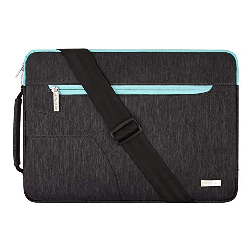 MOSISO Laptop Shoulder Bag Compatible with MacBook Pro 15 inch Touch Bar A1990 A1707, 14 HP Acer Chromebook, 2019 Surface Laptop 3 15, Polyester Briefcase Sleeve with Front Arc Pocket,Blue