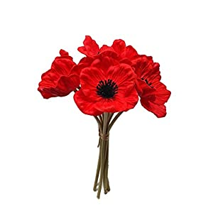 Floral Kingdom 8 pcs Real Touch Anemone Poppy Bouquet for Artificial Flower Decor (Red)