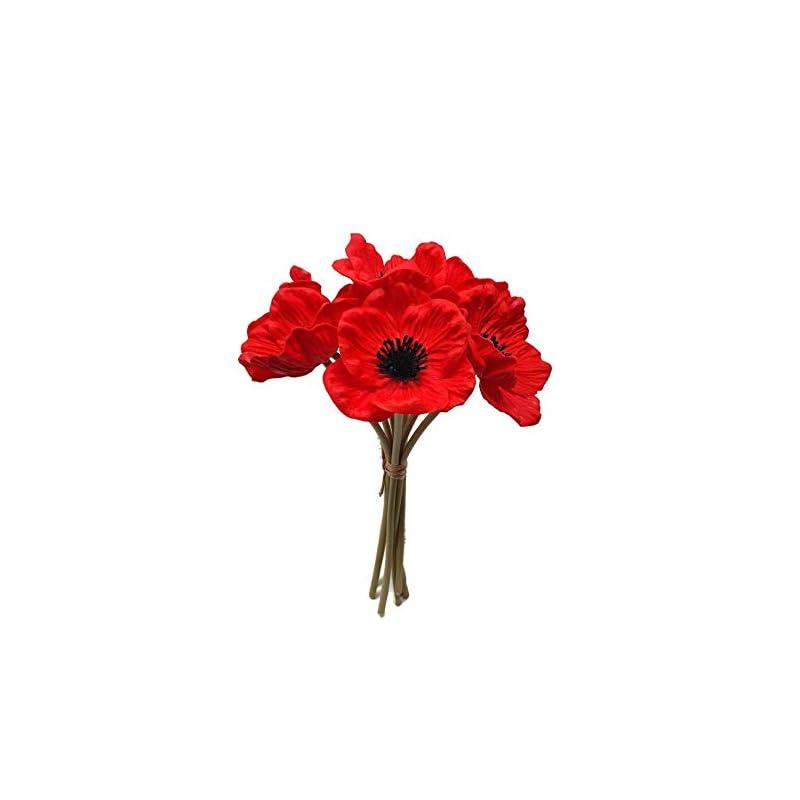 silk flower arrangements floral kingdom 8 pcs real touch anemone poppy bouquet for artificial flower decor (red)