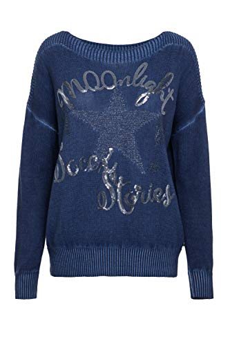 SOCCX Damen Boxy Pullover Oil Dyed mit Artwork