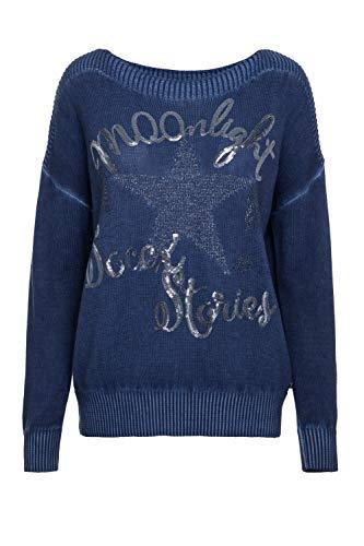 SOCCX Damen Boxy Pullover Oil Dyed mit Artwork