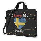 Ich Liebe Mein schwedisches Herz Flagge Laptop-Tasche Umhängetasche Computer-Tasche Aktentasche Tasche geneigte Umhängetasche