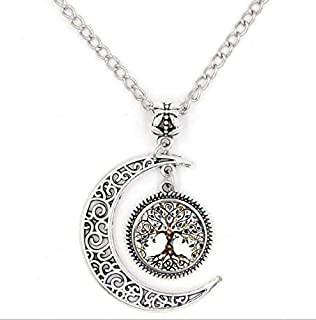 SPHTOEO Moon the Tree of Life Glass Pendant Long Chain Blessing Necklace