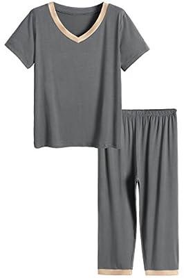 Latuza Women's Sleepwear Tops with Capri Pants Pajama Sets 2X Gray