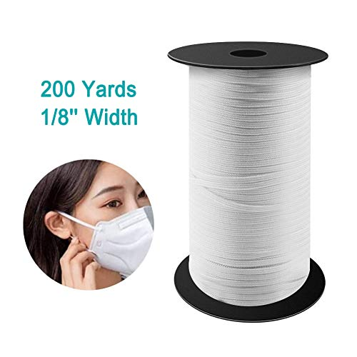 VOLADOR 200 Yard 1/8 inch Width Knitted Elastic Band Heavy Stretch Knit Bungee Elastic Cord Elastic Rope Elastic Spool for Sewing DIY Crafts Beading (White)