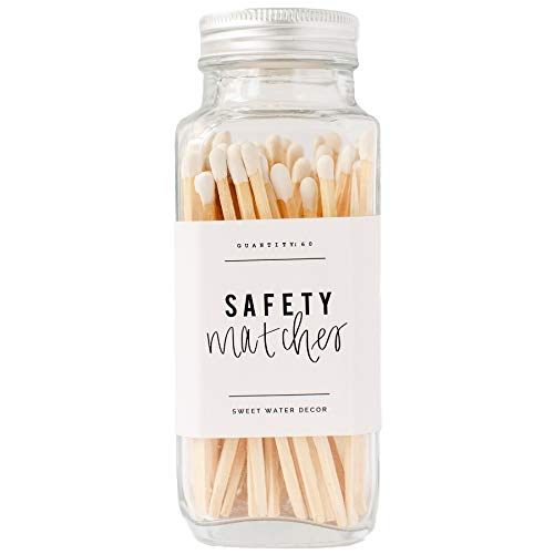 Sweet Water Decor White Safety Matches - Glass Jar | Approx. 60 Strike On Bottle Long Matches | Birthday Gifts | Home Decor | Candle Accessories | Apothecary (White)
