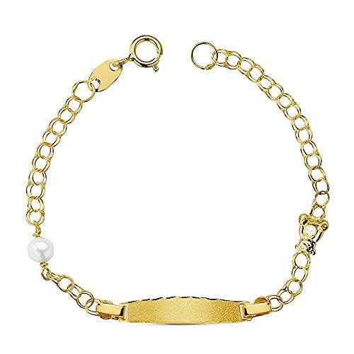 Esclava oro 18k húngara 12.5cm. oso perla 4mm. bebé - Personalizable - GRABACIÓN INCLUIDA EN EL PRECIO