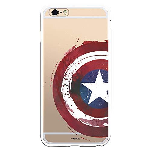 Funda para iPhone 6 Plus - 6S Plus Oficial de Marvel Capitán América Escudo Transparente para Proteger tu móvil. Carcasa para Apple de Silicona Flexible con Licencia Oficial de Marvel.