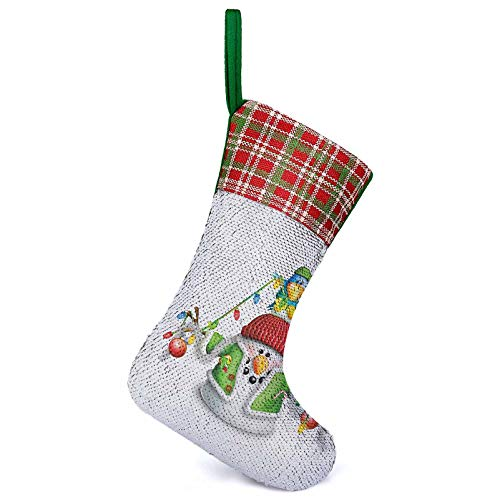 TableCoversHome Snowman Christmas Stocking, Cartoon Whimsical Character with Christmas Garland Blue Bird Various Xmas Elements Custom Stocking Multicolor