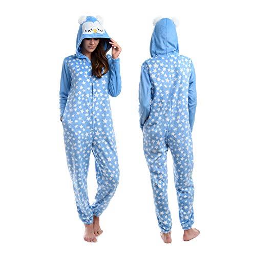 Body Candy Women Cute Microfleece Hooded Onesie Critters, NIGHT OWL, Blue -  Large
