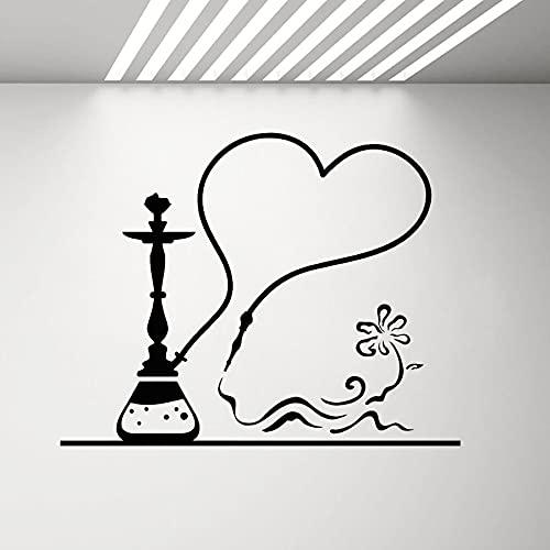 Shisha Bar Logo Sign Hookah Lounge Paja Botella Humo Vinilo Etiqueta de la pared Arte Calcomanía Dormitorio Sala de estar Club Studio Cafe Decoración para el hogar Mural