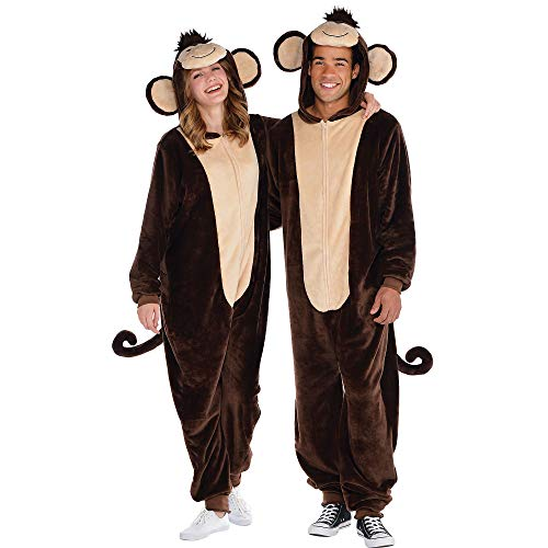 AMSCAN Zipster Monkey One Piece Pajama Halloween Costume for Adults, Large/Extra Large, with Attached Hood and Tail