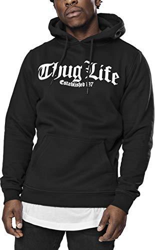 Mister Tee Herren Thug Life Old English Hoody Kapuzenpullover, Black, S