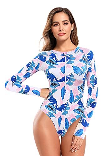 SHEKINI Traje de baño retro y elegante, de manga larga, con cremallera, cuello alto, deportivo, con protección UV 50+, traje de surf, buceo, triángulo Pink Blue Leaves M