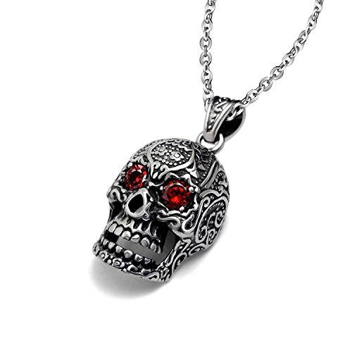 Feilok - Catenina con ciondolo a forma di teschio in acciaio inox, da uomo, stile gotico, con occhi di cristallo rosso, colore: argento