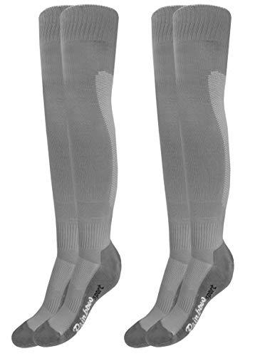 Rainbow Socks - Damen Herren Fußball Soccer Kniestrümpfe - 2 Paar - Grau - Größen 44-46