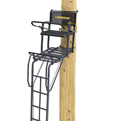Rivers Edge LD200, Lockdown 21' Wide 1-Man Ladder Tree Stand, Extra Tall 21' Height with TearTuff Flip-up Mesh Seat, Extra Wide Platform, Gray