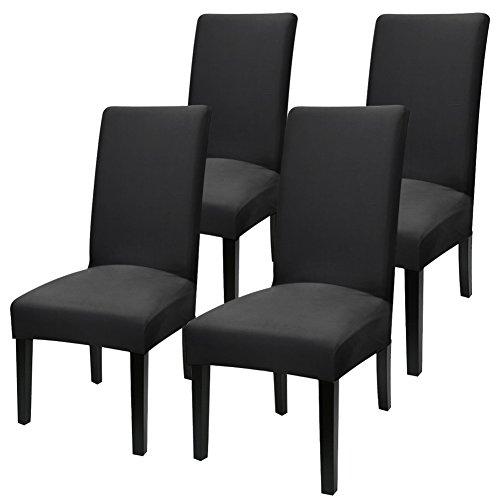 YISUN Universal Stretch Stuhlhussen 4er 6er Set Stuhlbezug für Stuhl Esszimmer (4er Set, Pures Schwarz)