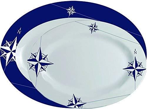 Marine Business Northwind Fuentes de Servir ovaladas, Melamina, Blanco y Azul, 36 x 25 x 2.4 cm, 2 Unidades