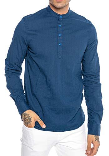 Redbridge Camicia da Uomo Maglia in Lino Casual Stile Tunik-Straight Blu L