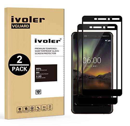 ivoler [2 Stücke] Panzerglas Schutzfolie für Nokia 6.1 / Nokia 6 2018, [Volle Bedeckung] Panzerglasfolie Folie Hartglas Gehärtetem Glas BildschirmPanzerglas