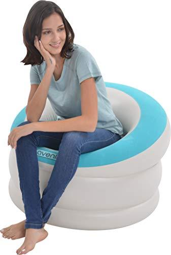Pullach Hof Sillón hinchable aprox. 85 x 82 x 60 cm, mueble hinchable para verano, baño, piscina, incluye set de reparación, color azul claro